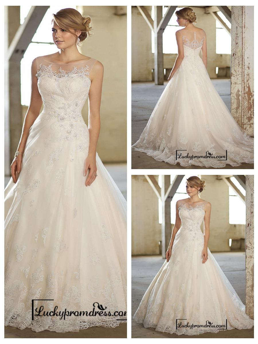 Stunning A Line Illusion Neckline Back Lace Wedding