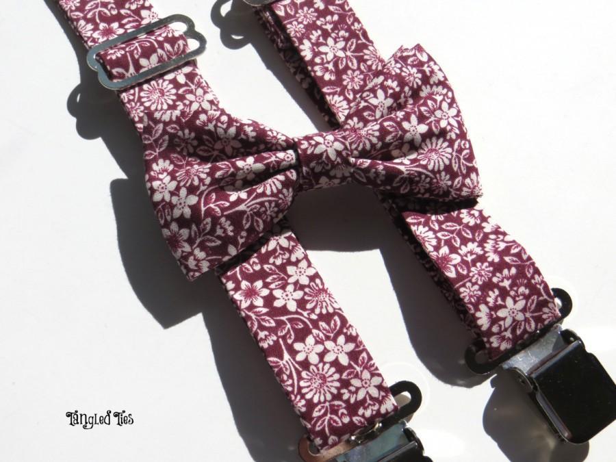 Mariage - Men's Suspenders Set, Men's Bow Tie and Suspenders, Groomsmen Suspenders, Suspenders For Men