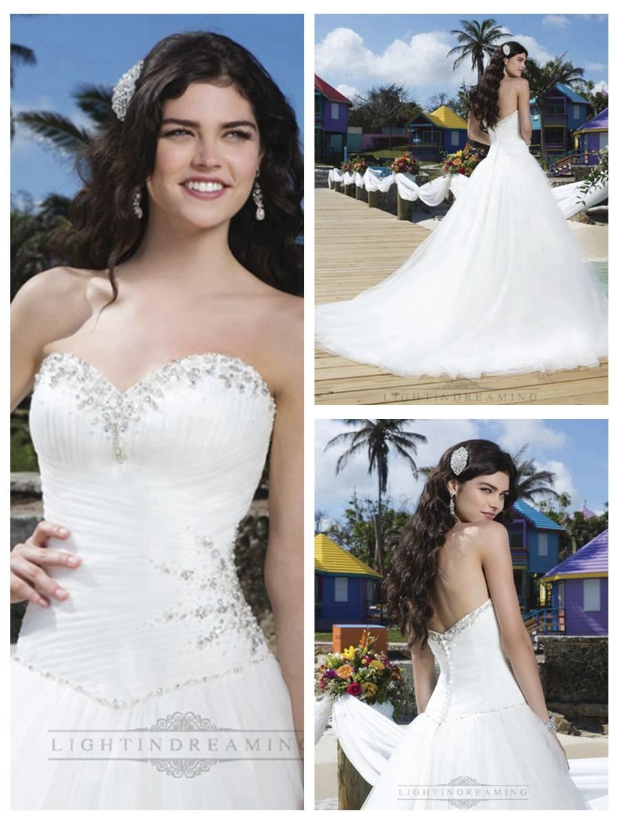 Hochzeit - Pleated Sweetheart Neckline, Side Hip And Basque Waistline Tulle Ball Gown