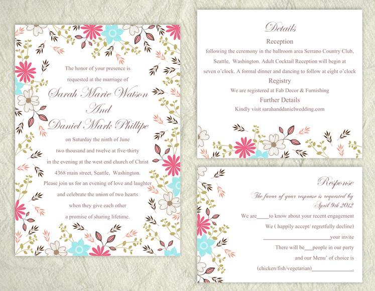 Mariage - Printable Wedding Invitation Suite Printable Invitation Colorful Wedding Invitation Floral Invitation Download Invitation Edited jpeg file