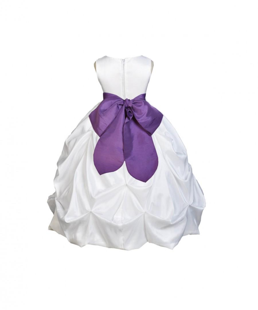 Wedding - White / choice of color sash Taffeta Flower Girl Dress pageant wedding bridal children bridesmaid toddler sizes 6-9m 12-18m 2 4 6 8 10