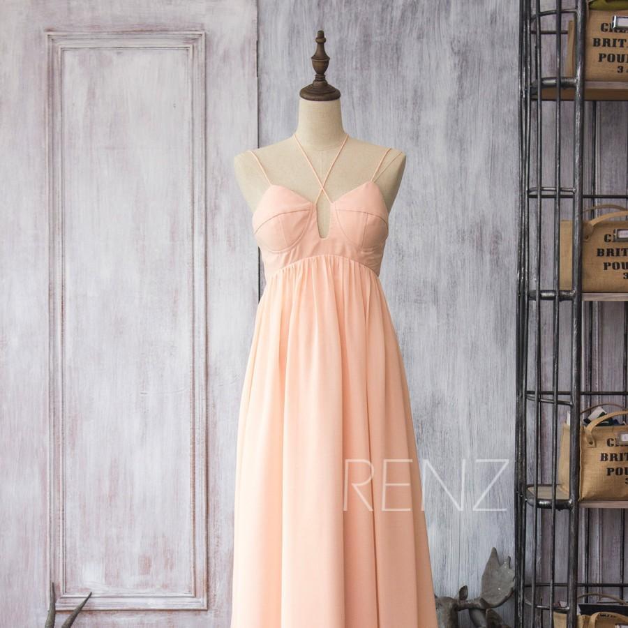 2017 Long Chiffon Dress Bridesmaid With Straps Peach Empire Wedding Backless Prom Blush Maxi Floor Length F086