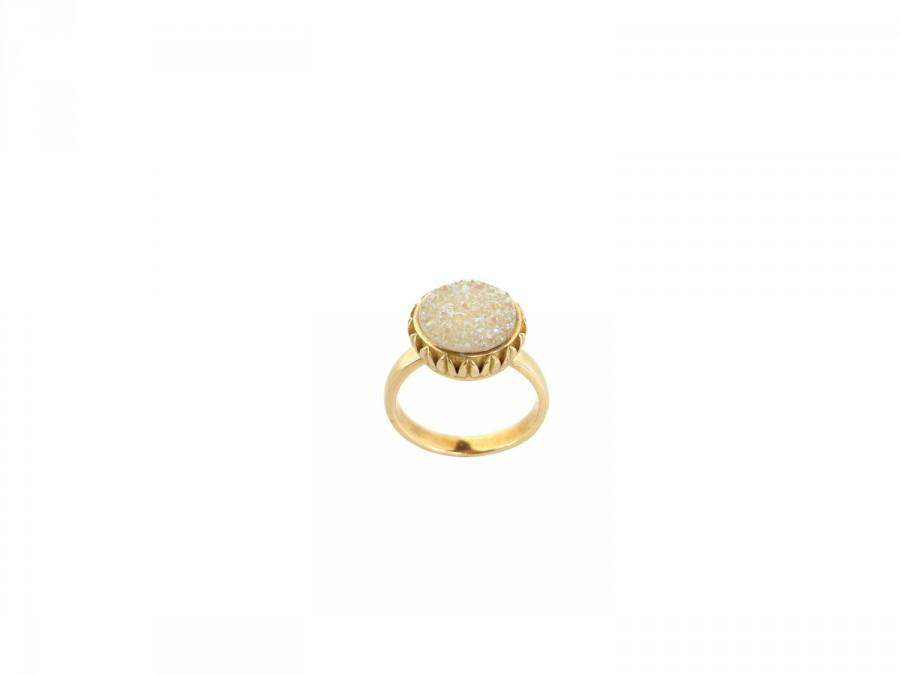 Mariage - DRUZY RING. Boho Chic Statement Ring. Unique engagement ring with Druzy Quartz by AnnKat Designs