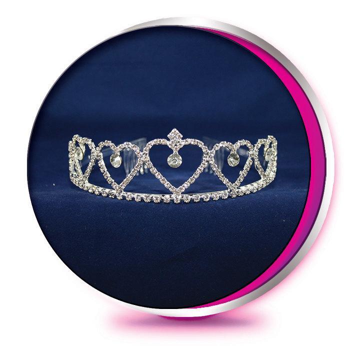 Mariage - The Princess Hearts - Rhinestone Tiara - Pageant, Wedding, Prom, Homecoming, or Bridesmaid Crown