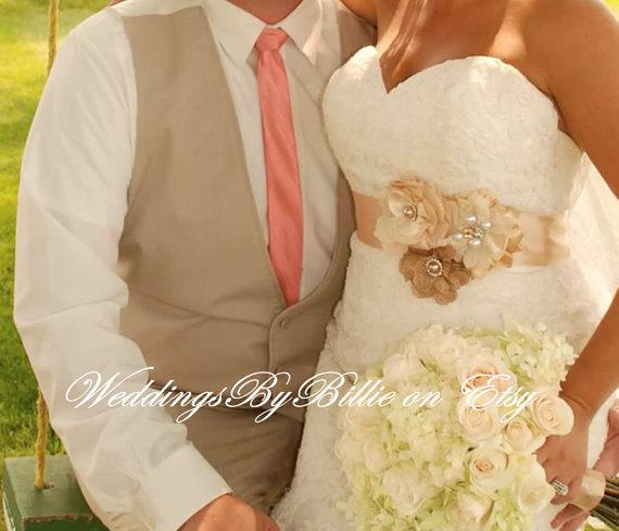 Wedding Belt Sash Bridal Dress Bridesmaid Accessories Burlap Champagne Ivory
