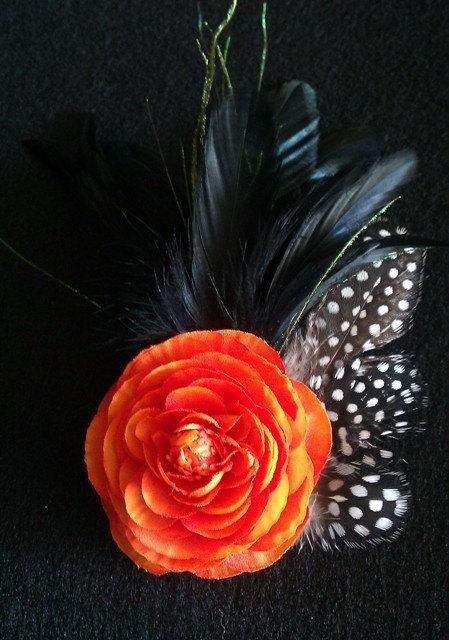 Mariage - Orange, flower,fascinator, orange and black, guinea, pin up, couture, wedding, wedding fascinator,  orange flower, black feathers