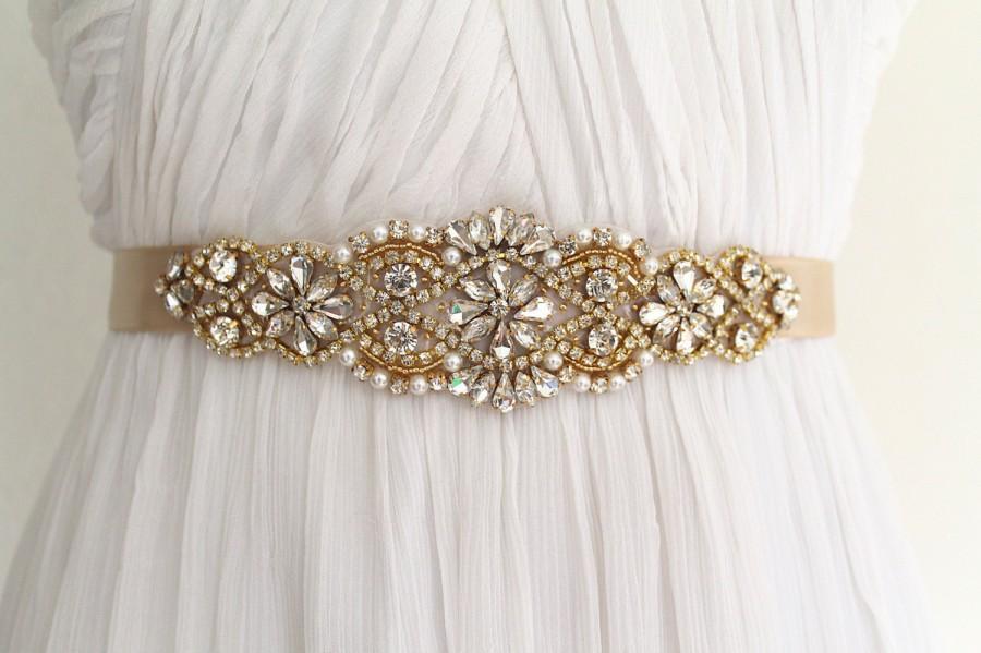 Свадьба - Gold Bridal Crystal Sash. Rhinestone Pearl Applique Wedding Belt. Silver Bridal Sash. VINTAGE MODE GOLD