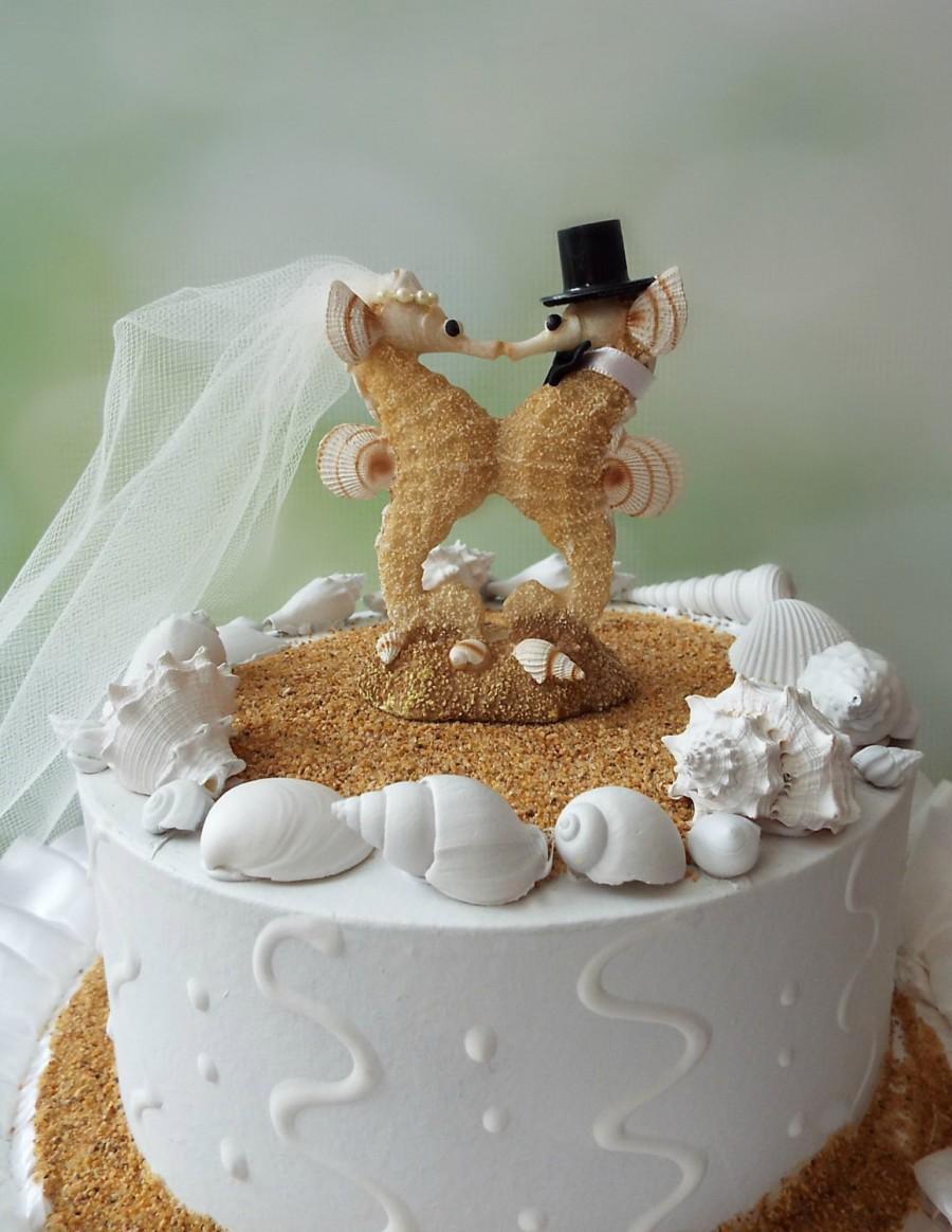 Sea Horse Wedding Cake Topper Bride Groom Seahorse Lover Kissing Beach Destination Themed Mr And Mrs Seahorse Cake Topper Wedding Decor 2452313 Weddbook
