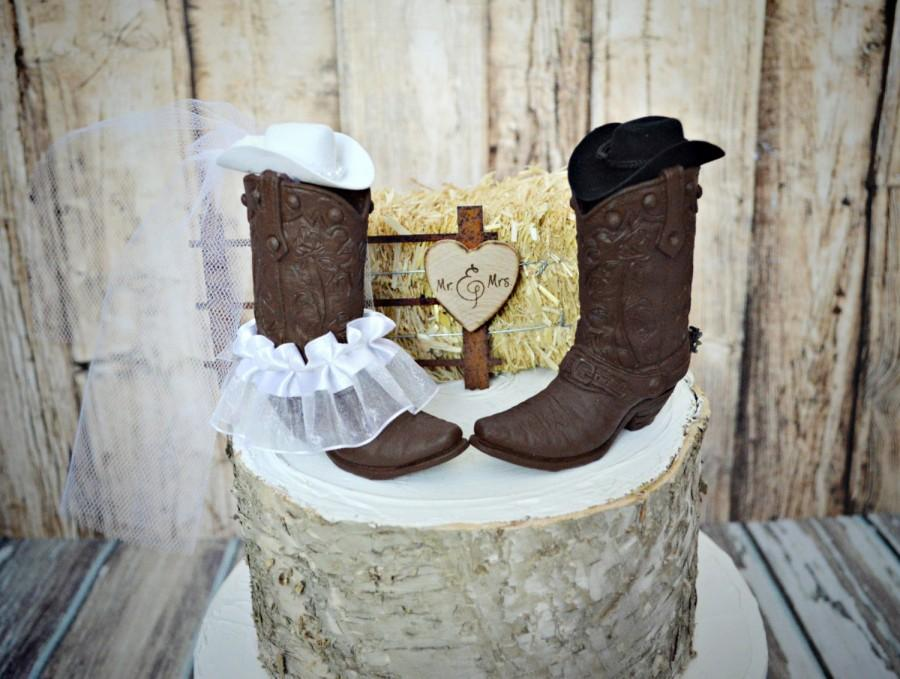 Western Wedding Cake Topper Boot Cowboy Hat Bride Groom Ranch Southwest Cowgirl Country Rustic Spurs Decor