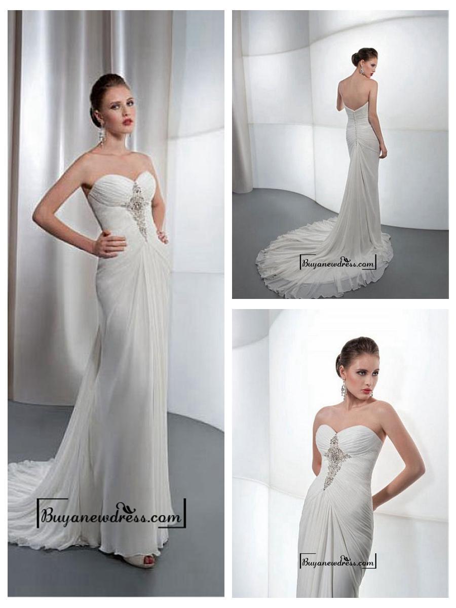 Свадьба - Amazing Chiffon & Satin Sheath Sweetheart Neck Wedding Dress With Beaded Lace Appliques