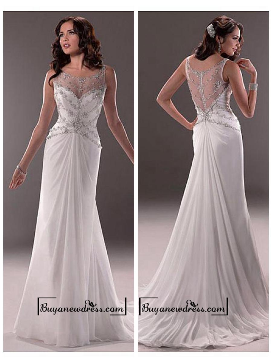 Hochzeit - Amazing Chiffon & Tulle & Satin Sheath Illusion Bateau Neck Natural Waistline Wedding Dress