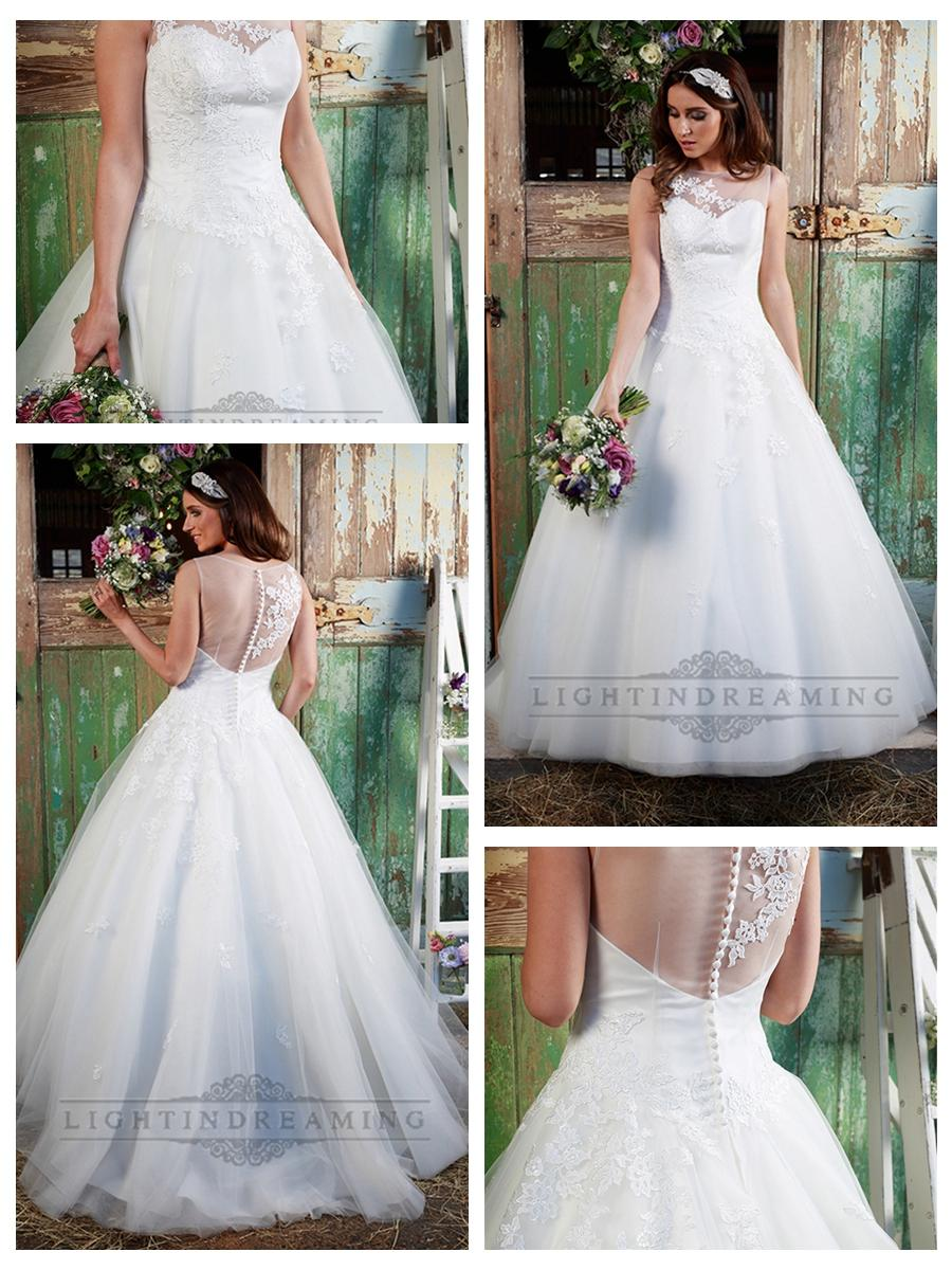 Hochzeit - Stunning Illusion Neckline & Back A-line Lace Over Wedding Dress