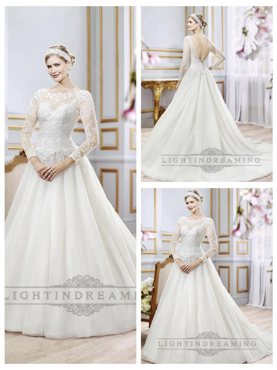 Illusion Lace Long Sleeves Bateau Neckline Ball Gown Wedding Dress ...
