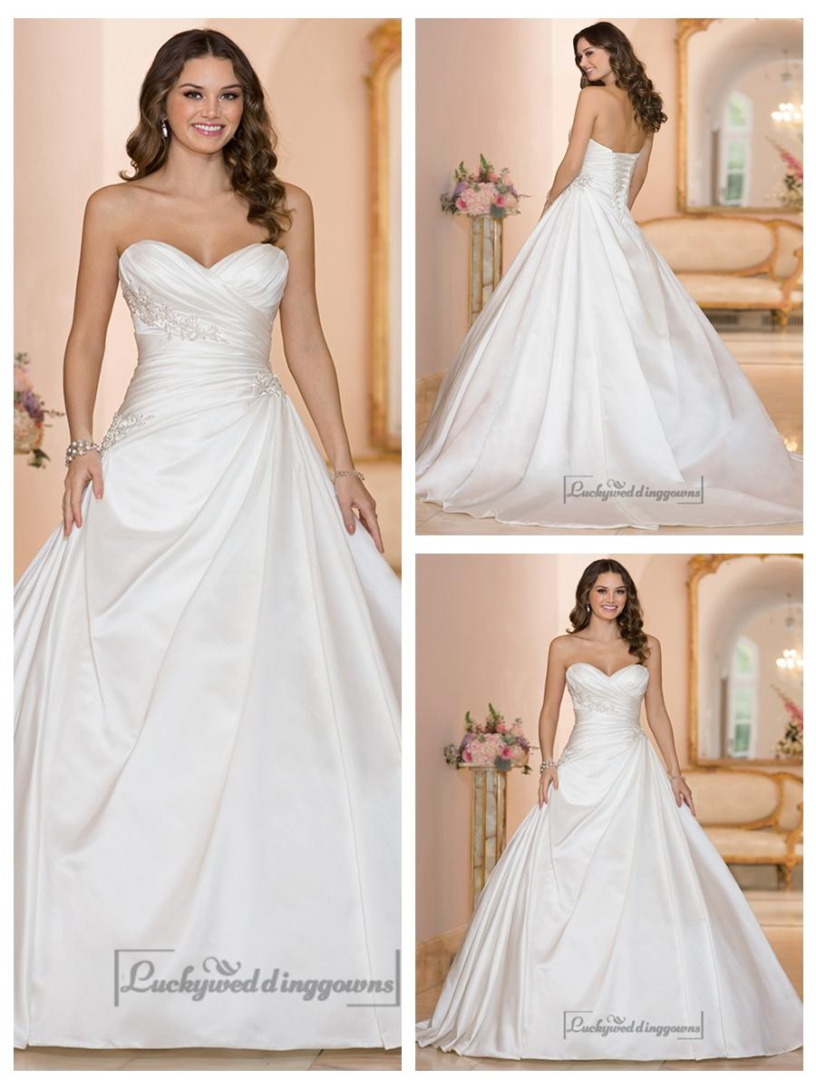 Düğün - Sweetheart Ruched Bodice Princess Ball Gown Wedding Dresses
