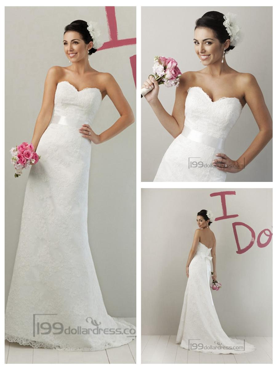 Hochzeit - Impression Strapless A-line Sweetheart Modified Lace Wedding Dresses
