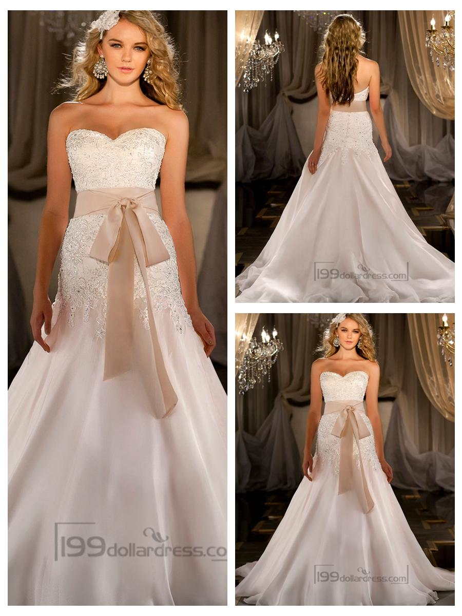 Silk Organza A-line Sweetheart Beaded Wedding Dresses #2452373 ...