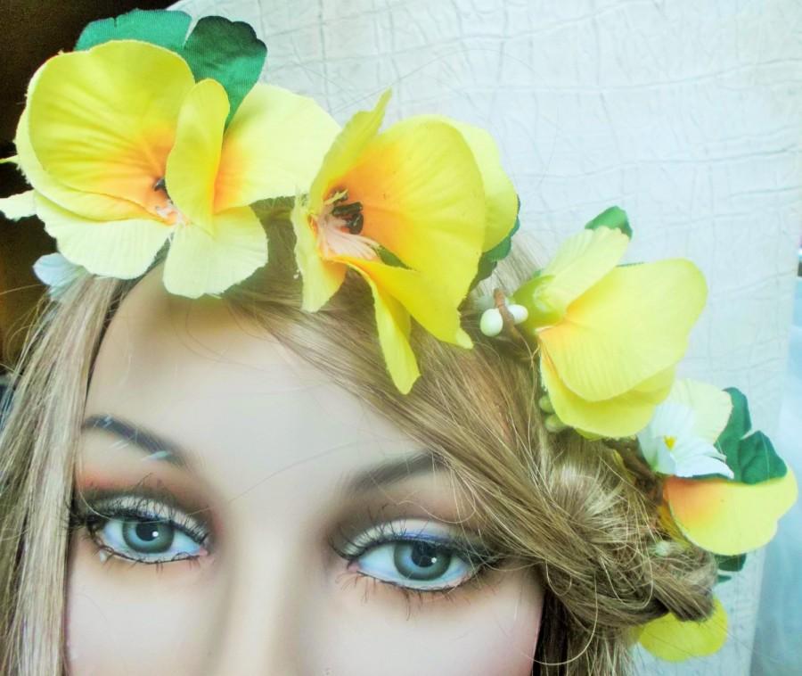 زفاف - Boho flower circlet ,wedding bridal Woodland crown/Hippie Yellow tiara,hair accessoires,bridesmaid,renaissance garland