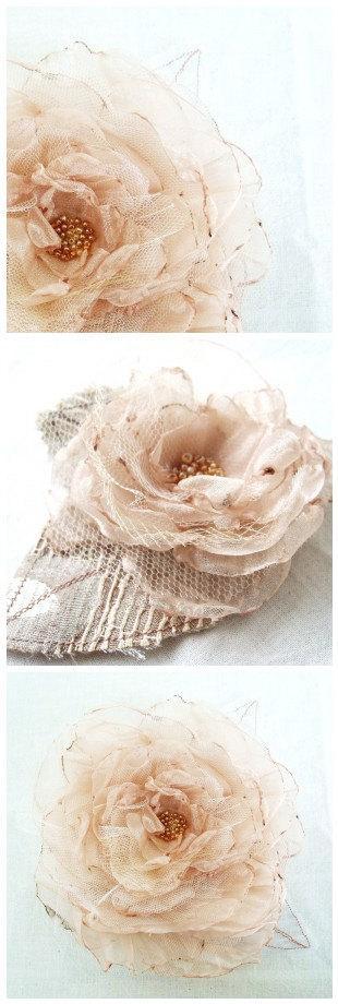 Mariage - Golden Champagne Organza Flower Wedding Bridal Hair Accessory Corsage Brooch Bridesmaid Hair Flower Girl Hair by Fairytale Flower - Small -