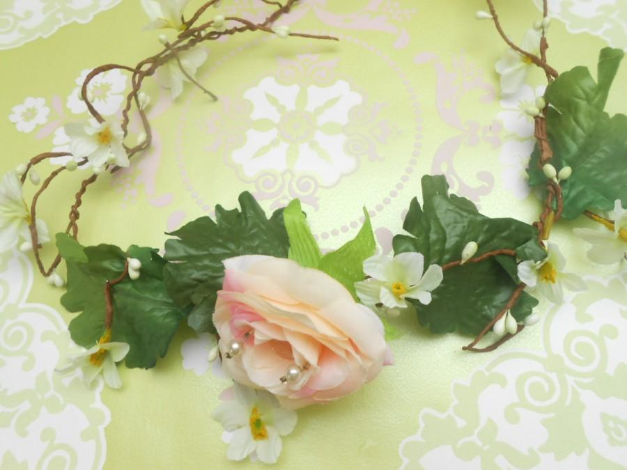 Wedding - Sale 20%OFF Flower  boho crown, blush pink pearl flower hair wedding accessoires,festival , flower tiara