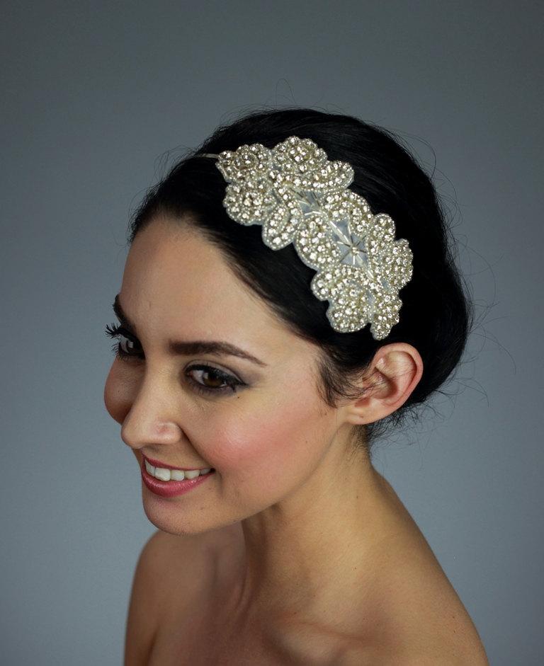 Mariage - Wedding Rhinestone Head Piece on a Thin Metal Headband OR Ribbon, Comb, Tulle band, Alligator clips - Ships in 1 week
