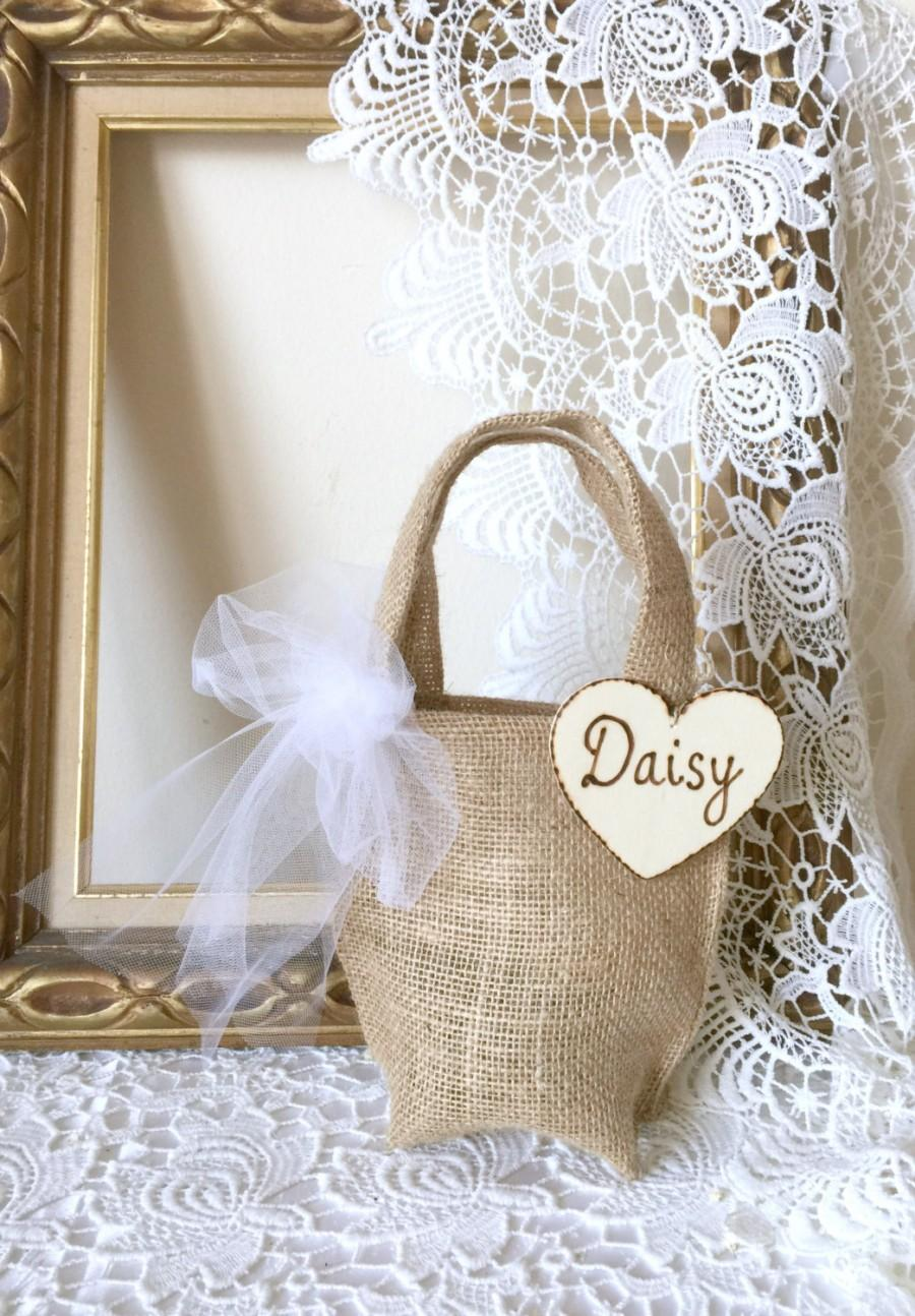 Mariage - Burlap Flower Girl Bag Personalized Burlap and Tulle with wood heart tag