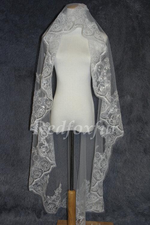 Mariage - Modern stylish mantilla bridal veil lace wedding veils150cm length  elbow fingertip length in ivory or white