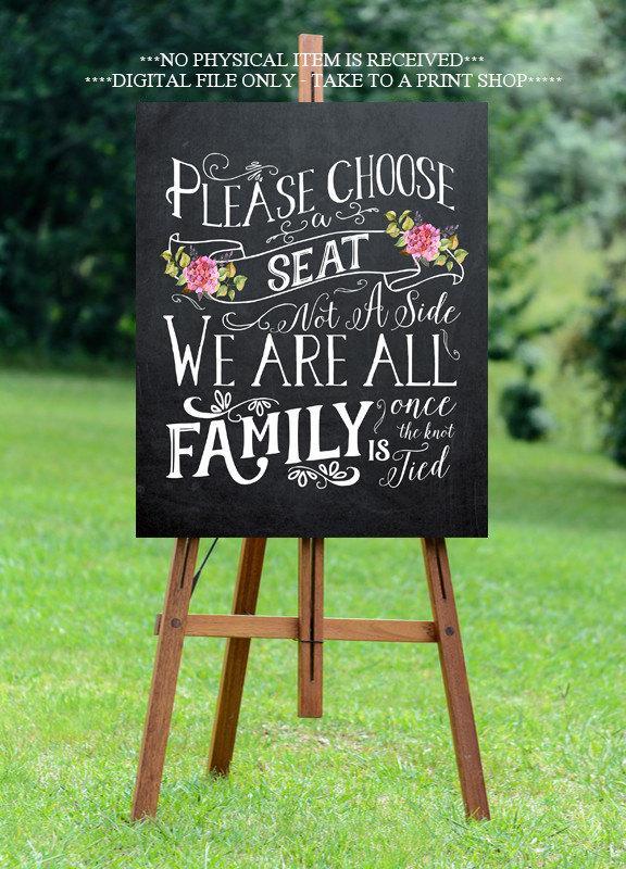 Свадьба - chalkboard wedding sign, printable wedding sign, pick a seat wedding sign, digital wedding sign, pick a seat not a side sign,  16x20