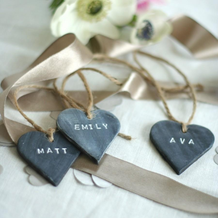 Свадьба - Bespoke Slate Effect Heart Place Name Tag / Wedding favour