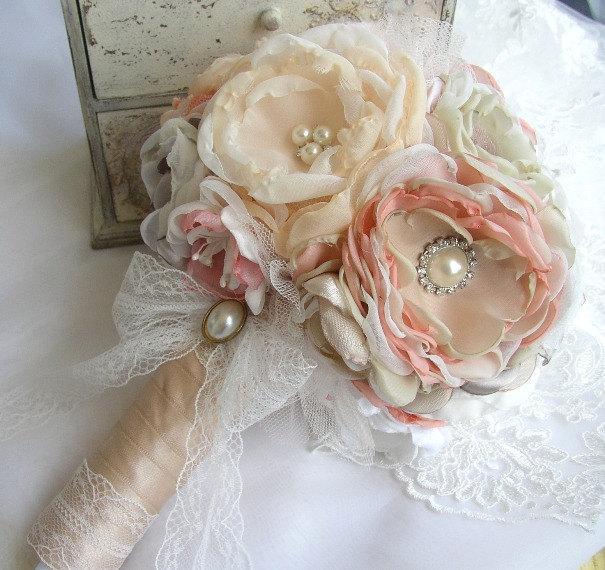 Fabric Flower Wedding Bouquet - Vintage Style Bouquet - Blush Pink ...