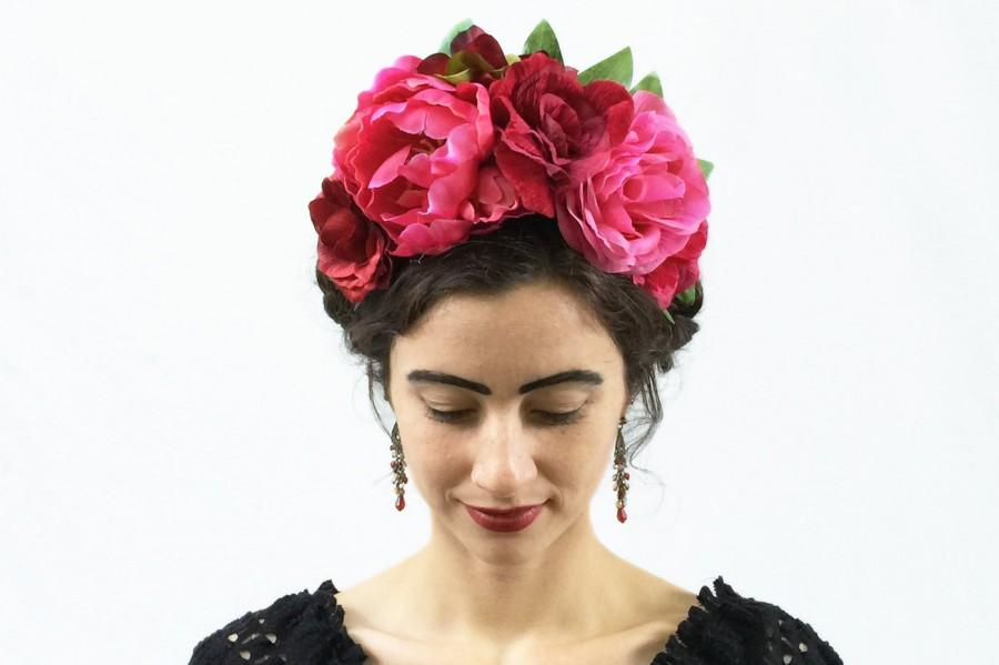 Wedding - Frida Kahlo Pink on Pink Flower Headband, Valentines Day, Floral Headpiece, Flower Crown, Floral Crown, Flower Crowns, Pink Flower Crown