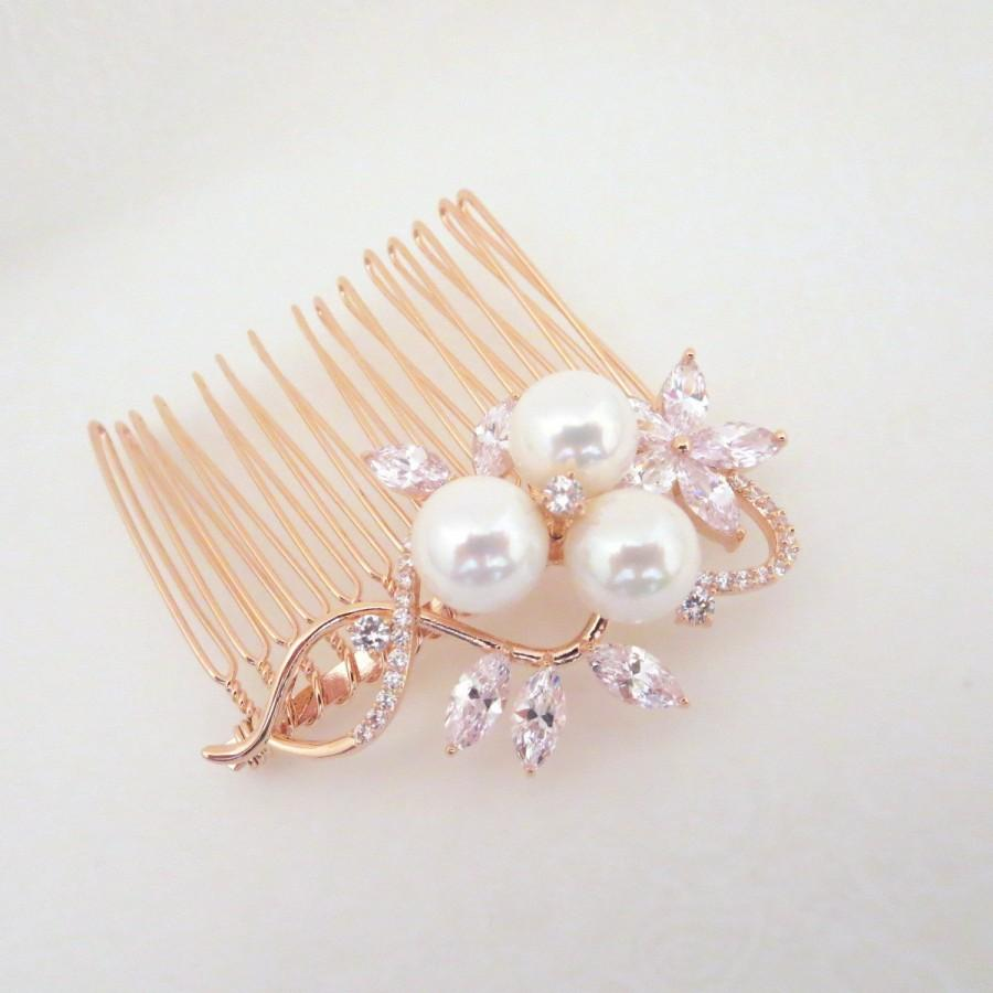 زفاف - Rose gold hair comb, Bridal hair comb, Swarovski Wedding headpiece, Wedding hair accessory, Pearl hair comb, Rose Gold, Crystal clip MIA