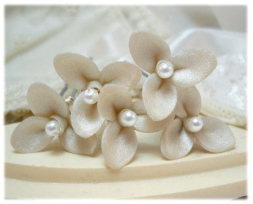 Mariage - Small Flower Bridal Hair Pins - Tiny Flower Wedding Hair Pins, Tiny Hair Flowers, Flower Pearl Hair Pins, Mini Flower Bobby Pins for Wedding