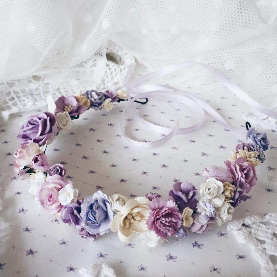 Floral Crown Bridal Crown Bridal Flower Crownpurple Hair Wreath