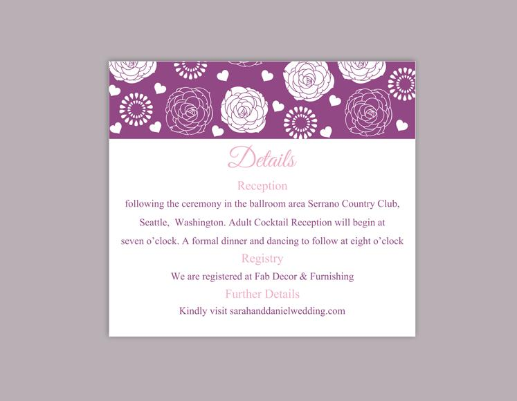 Boda - DIY Wedding Details Card Template Editable Word File Instant Download Printable Details Card Eggplant Details Card Floral Information Cards