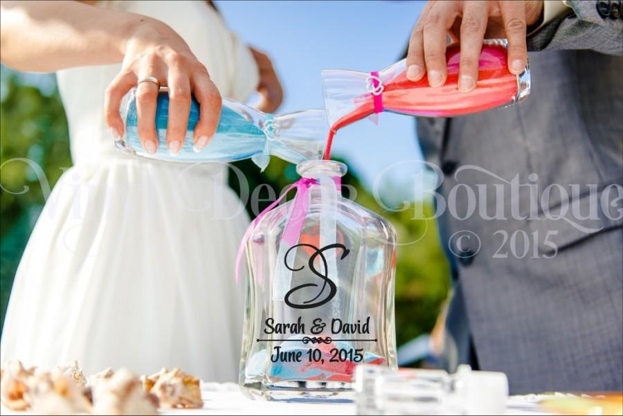 Wedding Monogram Unity Vase Sand Ceremony Decal Vinyl Lettering Anniversary Personalized Customized DIY