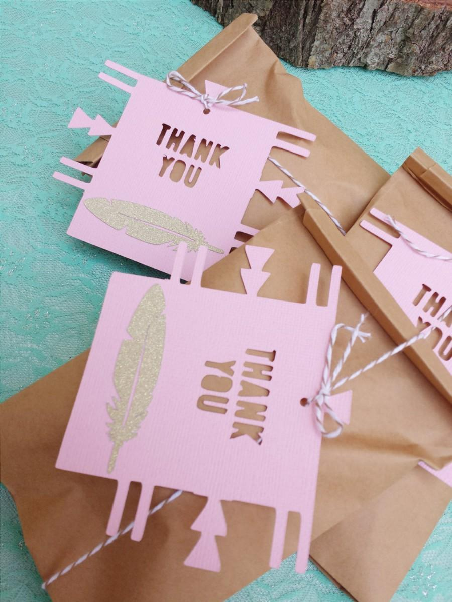 BOHO Chic Favor Tags Set Of 12//Gold Glitter Feather THANK YOU ...