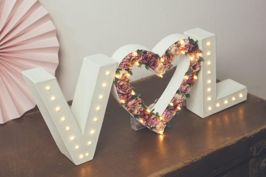 Initials Flower Heart Light Up Letter Lights Letter Lights