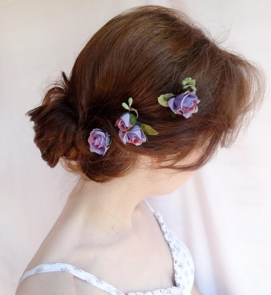 Hochzeit - flower hair pins, rosebud bobby pins, purple bridal hair accessories, flower girl, rustic wedding, small  hairpiece, wedding hair accessory