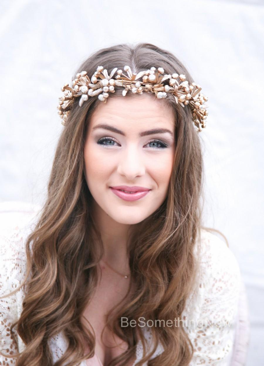 Rustic gold bridal flower crown boho headpiece of golden berries rustic gold bridal flower crown boho headpiece of golden berries and leaves wedding crown headband floral halo gold halo dhlflorist Images