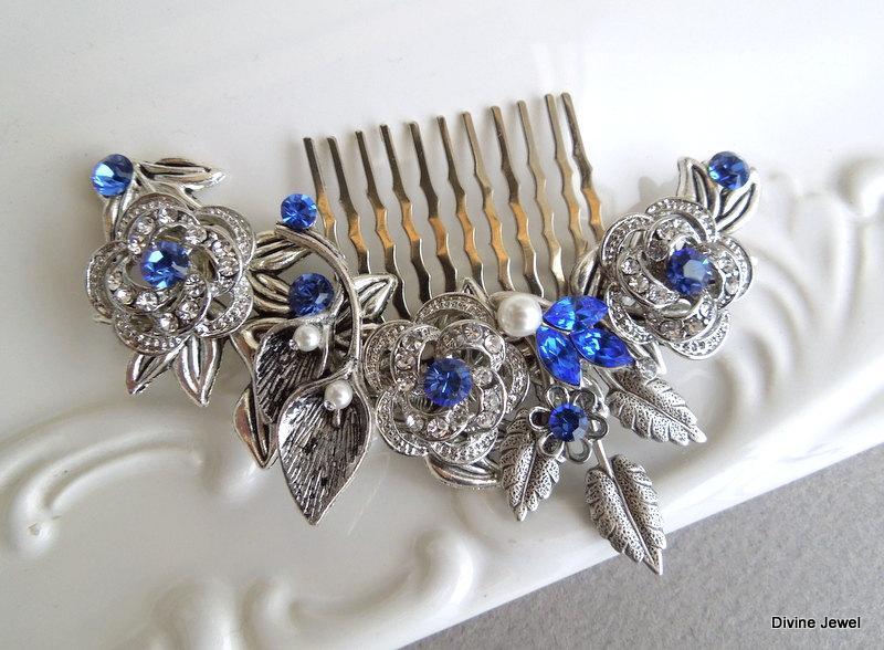 Hochzeit - Something Blue Leaf Pearl Rhinestone Bridal Hair Comb,Pearl Rhinestone Hair Comb,Wedding pearl Hair Comb Ivory or White Pearls,ROSELANI