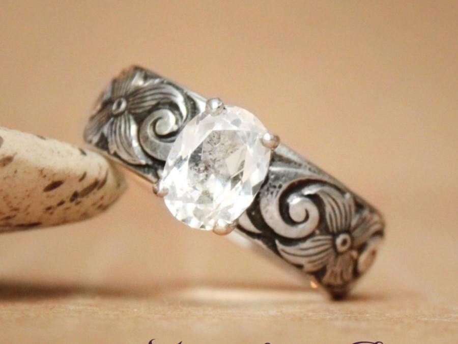 زفاف - Size 8.5 - Ready To Ship - Oval White Sapphire Engagement Ring on Sculptural Band In Sterling Silver - Diamond Alternative - Gift For Her