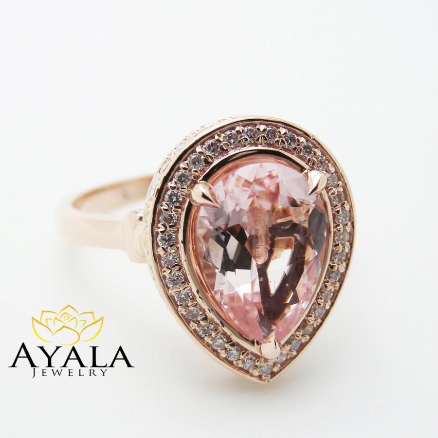 Свадьба - 14K Rose Gold Morganite Ring Pear Cut Engagement Ring Unique Halo Engagement Ring