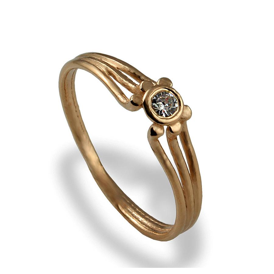 Dainty Engagement Ring Rose Gold Engagement Ring Diamond Ring Solitaire