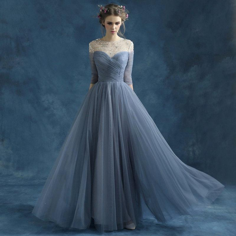 Bridesmaid Dress Blue Grey Perspective Halter Bride Perform Wedding Gown Dinner