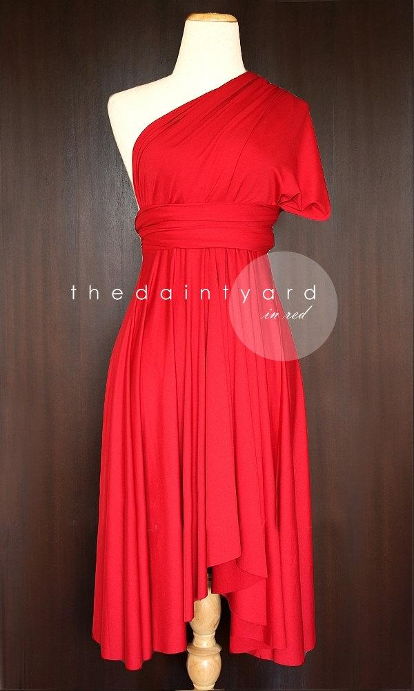 Boda - Red Bridesmaid Dress Convertible Dress Infinity Dress Multiway Dress Wrap Dress Wedding Dress Maid of Honor Dress Prom Dress Twist Dress