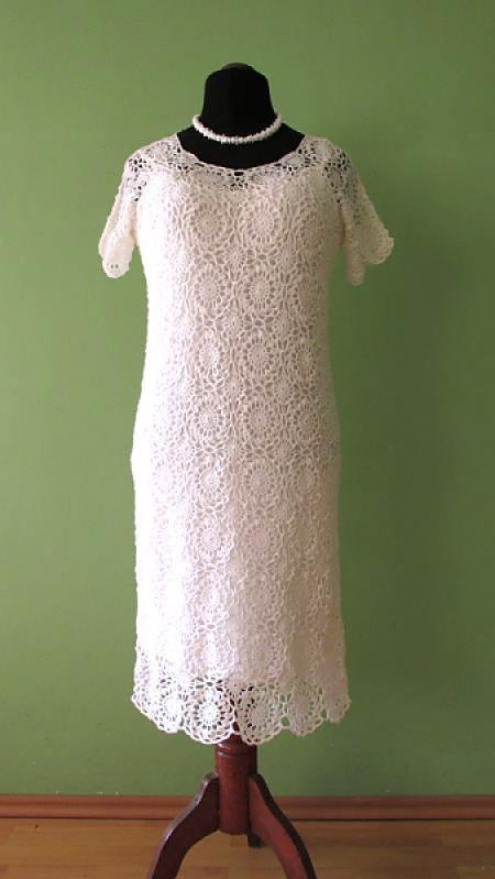 Wedding - Crochet Dress Crocheted dress Hand Crochet Dress White crochet dress Crochet lace dress Wedding lace dress Linen dress