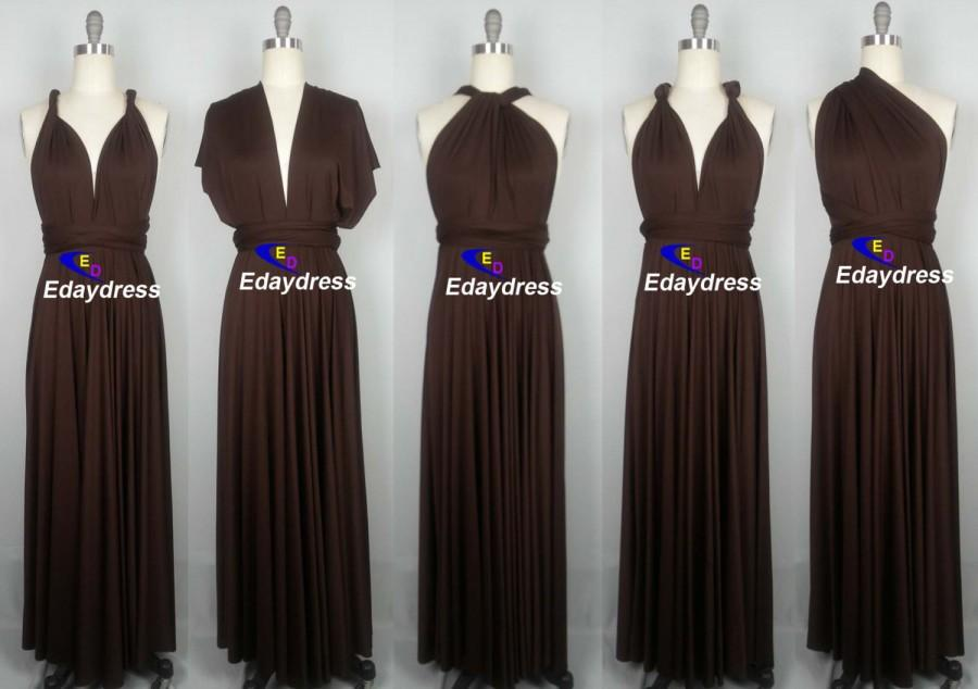 Wedding - Maxi Full Length Bridesmaid Coffee Chocolate Brown Infinity Dress Convertible Wrap Dress Multiway Long Dresses