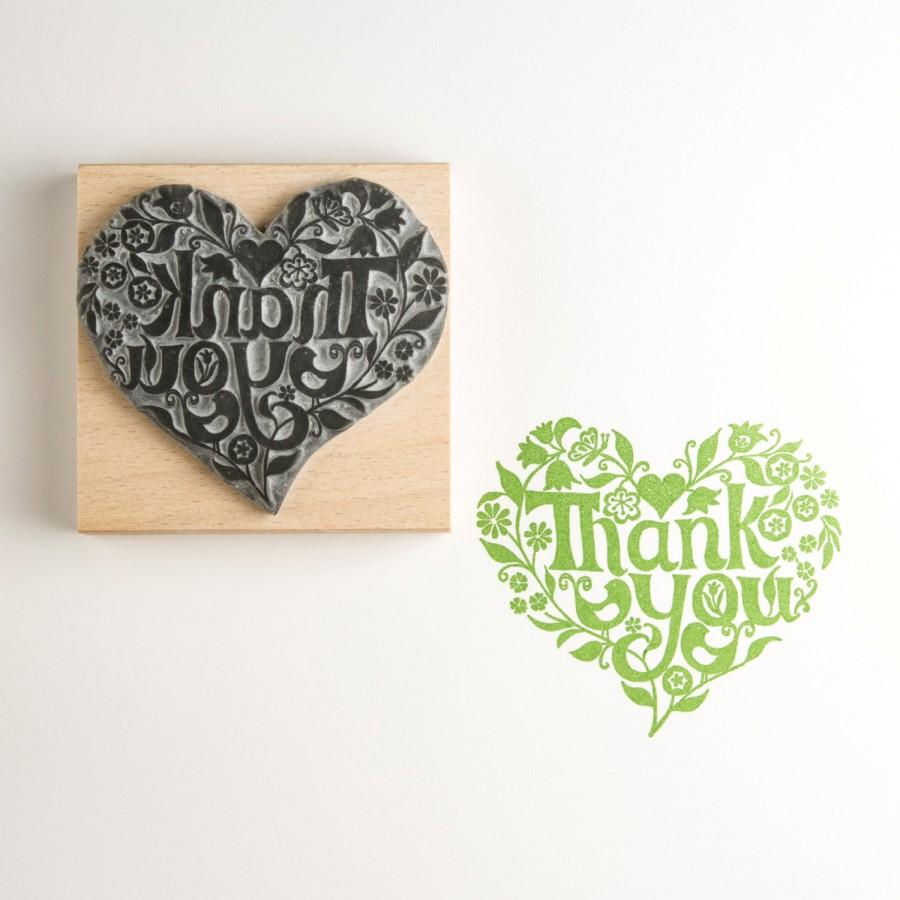 Mariage - Thank You Heart  Rubber Stamp