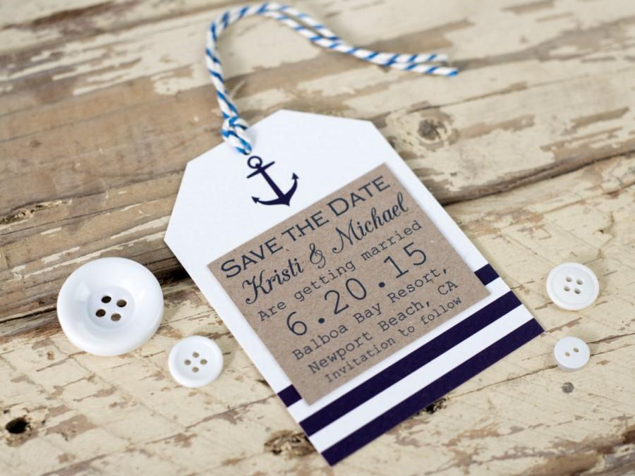 Nautical Save The Date Tag, Seaside Wedding - Rustic Wedding ...