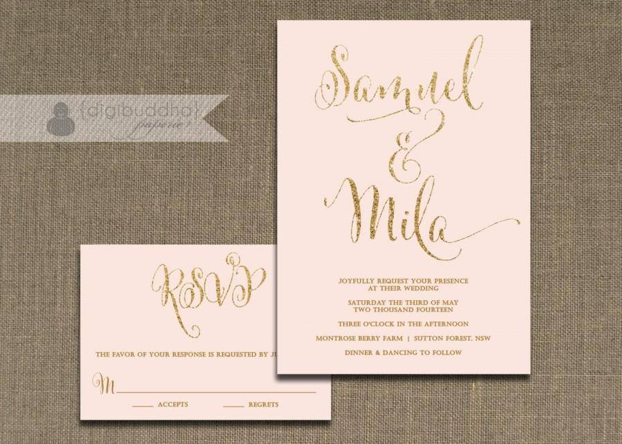 Mariage - Blush Pink and Gold Wedding Invitation & RSVP 2 Piece Suite Gold Glitter Modern Script Shabby Chic Pastel CUSTOM COLORS DiY or Printed- Mila